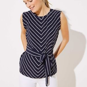 NWT LOFT chevron wrap waist top shirt blouse tank